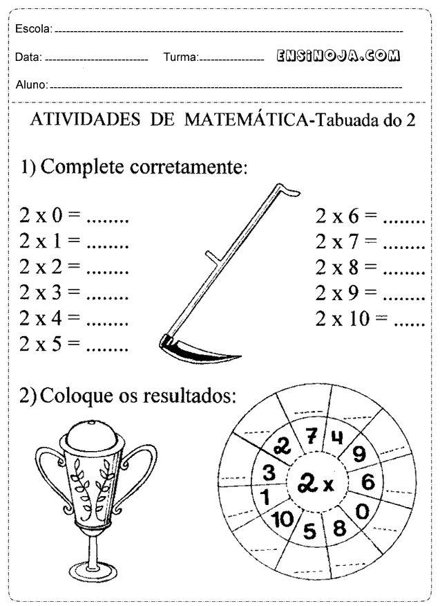Atividades de matemática 3° ano fundamental multiplicação e divisão – Ensino Já