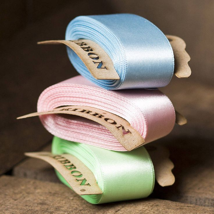 Double Satin Ribbon Bobbin. Gorgeous, luxury 25mm Double Satin Ribbon presented on our unique rustic recycled, lasercut bobbins. Pick your perfect satin ribbon colour and length.