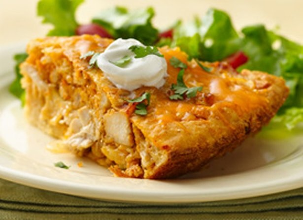 Impossibly Easy Chicken Taco Pie. No need to use or grease a glass pie plate when using Demarle at Home molds. Easy to clean.