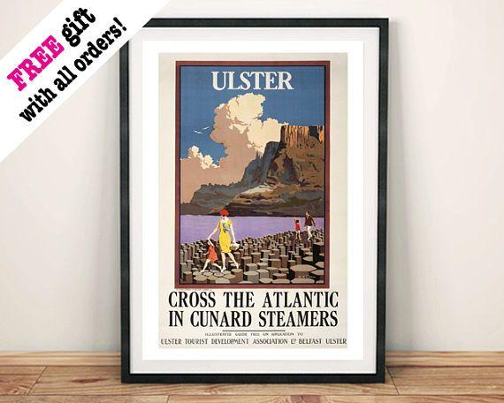 ULSTER TRAVEL POSTER: Vintage Northern Ireland Tourism Advert