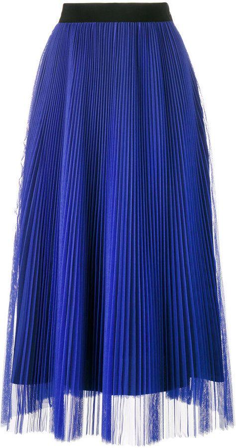MSGM - pleated midi skirt - women - Polyester - 38