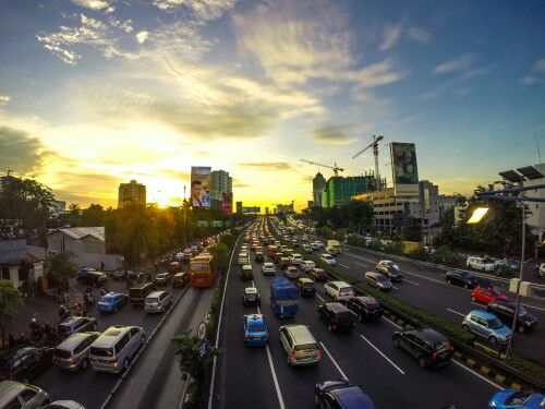 Traffic jam  sunset Jakarta - Indonesia