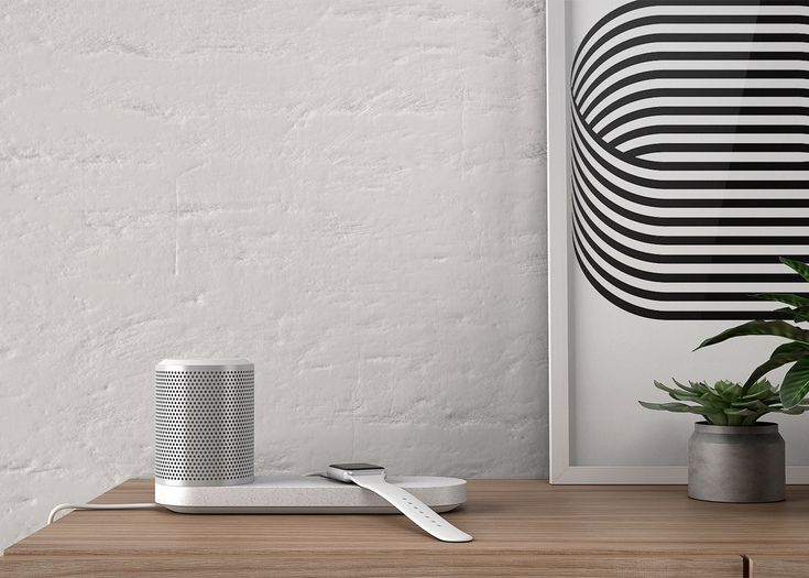 London studio Blond has created a portable cylindrical speaker that comes with a wireless induction-charging tray for digital devices