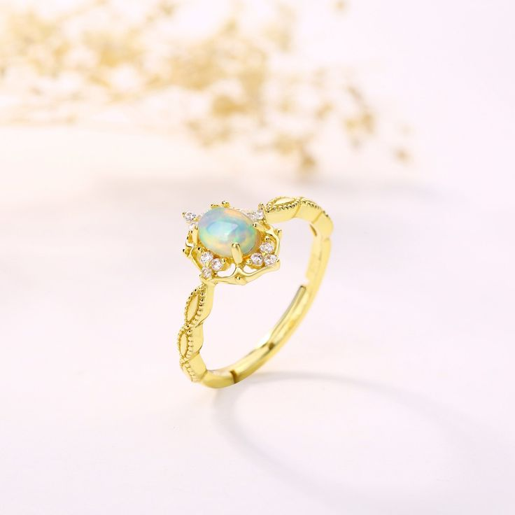 Vintage Opal Ring Adjustable Promise Ring for her – FindURings