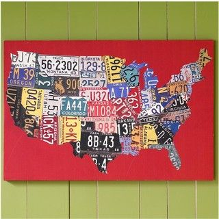 Here's a colorful map of old license plates pieced together. This could be a great look in a child's bedroom, especially one with a car theme. Art Wall Art - eclectic - artwork - The Land of Nod @Amanda Hopson