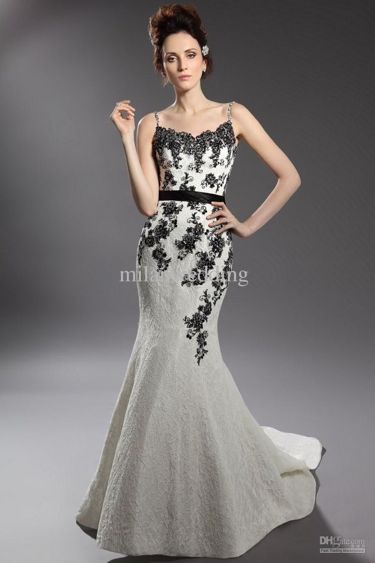 Black and white mermaid prom dress world dresses - Black White Embroidered Wedding Dress Lace Trends Fashion And Style 2015