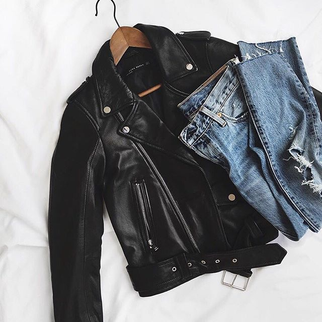 Boyfriend jeans and a leather moto jacket. These are the essentials.
