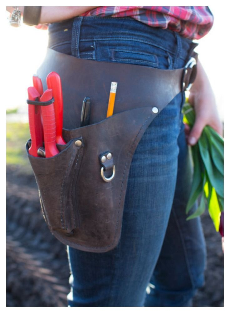 A must-have for gardeners, floral designers and  flower farmers: handmade leather tool belt for clippers, cell phone, pens and other tools.  Love this!