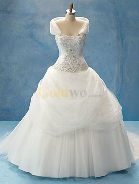 Disney Fairy Tale Weddings Style Shrug Strapless Satin Tulle Wedding Dress - US$268.99 - Goldwo.com
