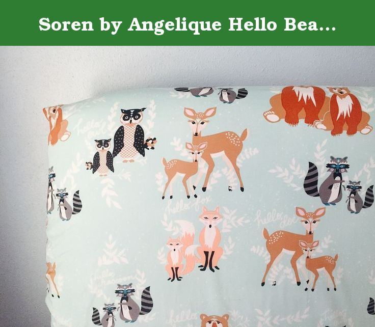 "Soren by Angelique Hello Bear Mint Crib Sheet. Soren by Angelique Hello Bear Mint Crib Sheet Fitted Crib Sheet, standard size with elastic all the way around. Fits best on 5"" tall crib mattress. This is the most adorable woodland print! There are sweet deer, bears, foxes, raccoon, and owls on a mint background."