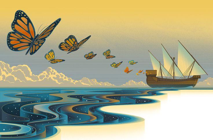 Una de las ilustraciones del set The Universe Fabric de Sam Chivers sobre la teoria de la relatividad de Galileo