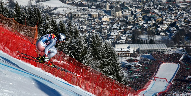 Eric Guay at Kitzbuhel on a scorching second-place run. It doesn't get more exciting than this!