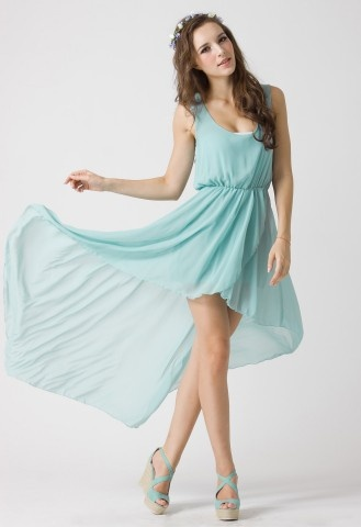 Turquoise Asymmetric Waterfall Dress by Chic+ #Chicwish
