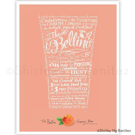 Handlettered The Bellini  Harry's Bar Art Print by smileshop