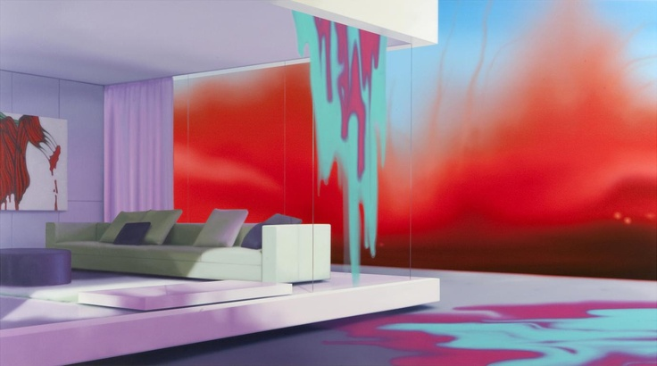 """Darren Wardle's work captures empty urban and domestic landscapes in super-saturated, Day-glo colors. Reminiscent of sets for a science fiction film, and the cold perfection of architectural plans, Wardle's work is heavily influenced by the landscape of Los Angeles, his adopted city, much like Ed Ruscha before him."""