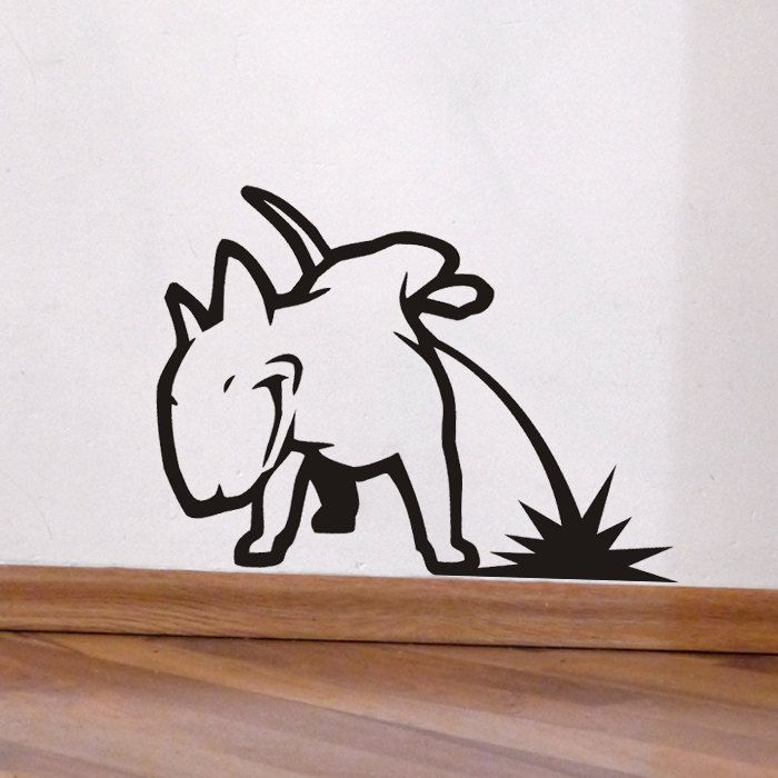Dog Decal Pissing Bull Terrier, Vinyl Sticker Decal   Good For Walls, Cars,