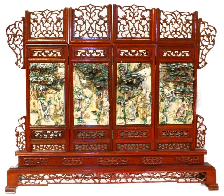 Antique Bed: CHINESE CARVED & PAINTED 4 PANEL SCENIC SCREEN Chinese