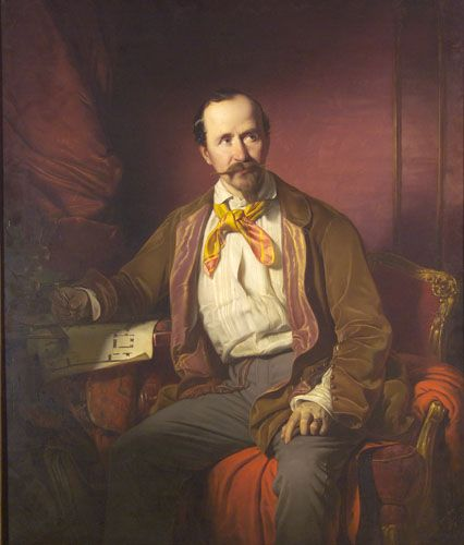 Portrait of Mátyás Zitterbarth, Architect, 1851 by Jozsef Borsos (Hungarian 1821-1883).....like his jacket's silk lapels.....