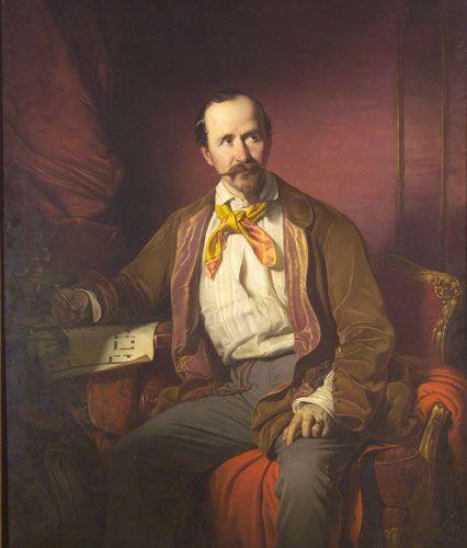 Portrait of Mátyás Zitterbarth, Architect, 1851 by Jozsef Borsos (Hungarian 1821-1883).....like his jacket's silk lapels.....