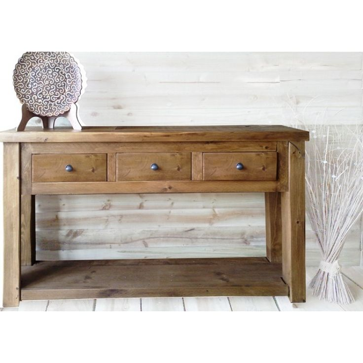 Denby Solid Rustic Pine 3 Drawer 6 Ft Console / Hall Table  Furniture4yourhome