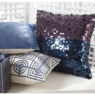 Sequins Two-Tone Square Cushion Grape/Navy