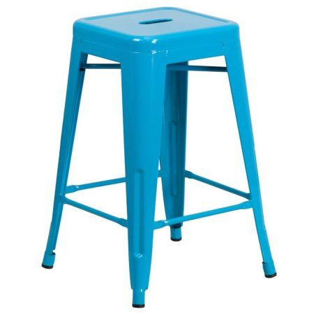 Flash Furniture 24'' High Backless Indoor-Outdoor Counter Height Stool, Multiple Colors, Blue