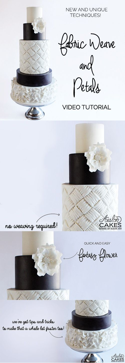 Wedding Cake TUTORIAL.... love the weave and petals cake! www.avaloncakesschool.com