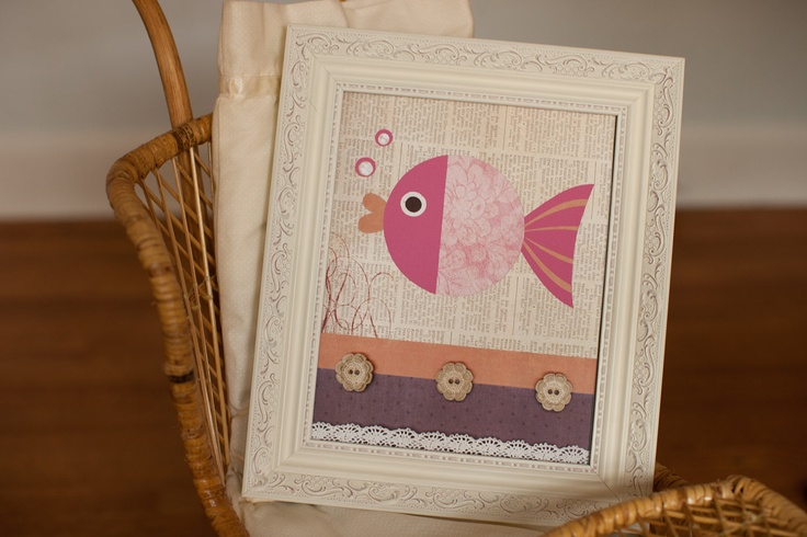 Ocean Nursery, Lahaina Pottery Barn bedding, Fish Bathroom Wall Art Print, fish nursery decor, beach baby nursery, kids room decor, baby art. $17.00, via Etsy.