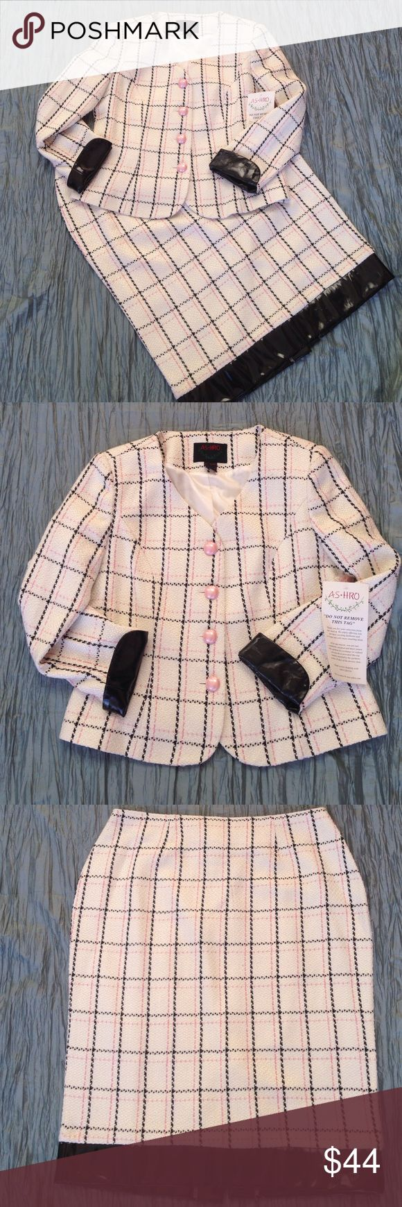💕 Valentines Sale!! Ashro 2 pc. suit. New. Ashro skirt suit. White with pretty pink and black plaid. Patten leather accents on cuffs and skirt hem. Jacket still has original tag. Pearly pink rounded buttons. Ashro Skirts Skirt Sets