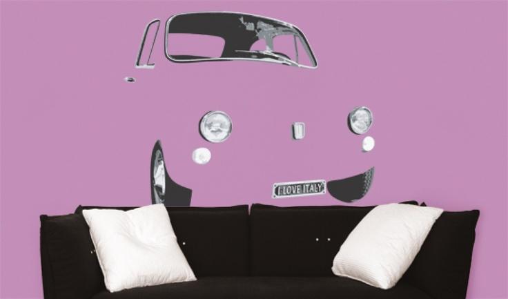 fiat 500 50x70 | complementi stickers da muro  #decorazioni #perlacasa #decoration