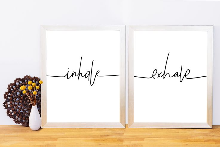 Inhale Exhale, Typography Print, Lettering, Printable Quote, Black and White Wall Art, Yoga, Meditat
