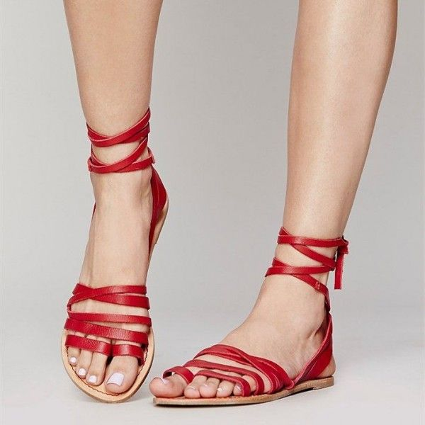 Red Summer Beach Open Sandals Flats Sandals Strappy sandals