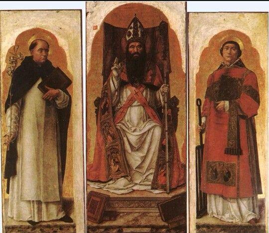 Bartolomeo Vivarini. Sant'Agostino Vescovo con i Santi Domenico  e Lorenzo.  Chiesa di San Zanipolo. 1473
