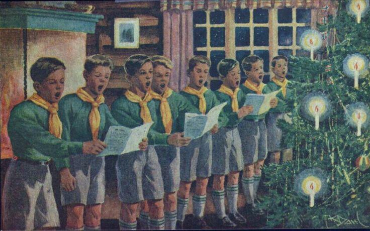 Julekort Speidere synger julesanger Karl Dahl utg Speidersport