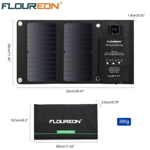 Floureon 15w Waterproof Solar Panel Charger Built In Ammeter Mobile Power Bank For Smartphones Tablets Dual Usb Ports Outdoor Review With Images Solar Panel Charger Dual Usb Solar Charger