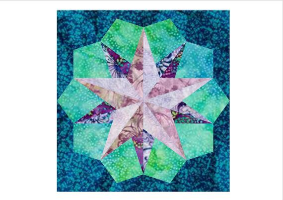 10 pointed star paper pieced block  PDF Pattern by endulzar, $1.52
