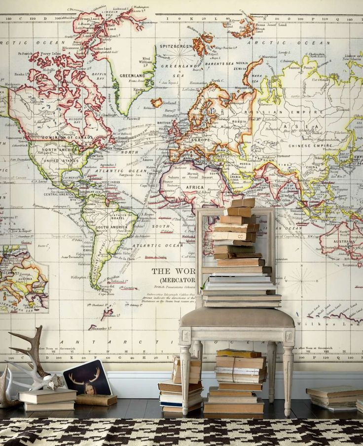 Old+world+map+wall+mural