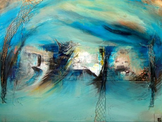 Large Surreal Blue Nautical Abstract Painting por EricaSeckingerArt