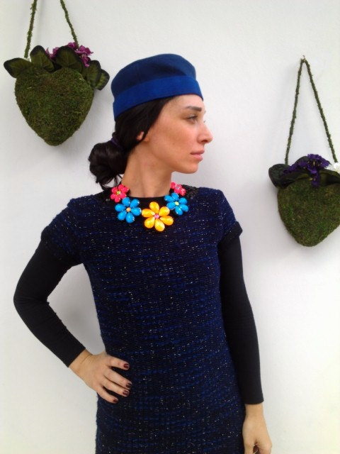 Felt, Beaded, Flower, Necklace, Collar,. $25.00, via Etsy.