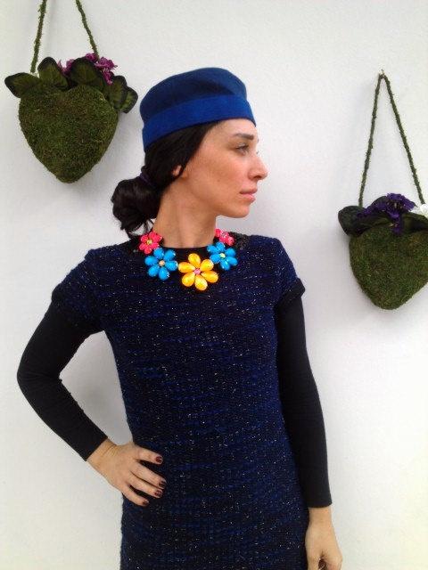 Felt, Beaded, Flower, Necklace, Collar,. $25.00, via Etsy.