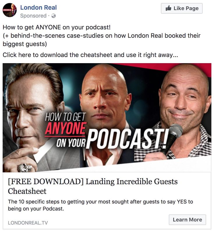 Facebook Ad for How to get anyone on your Podcast