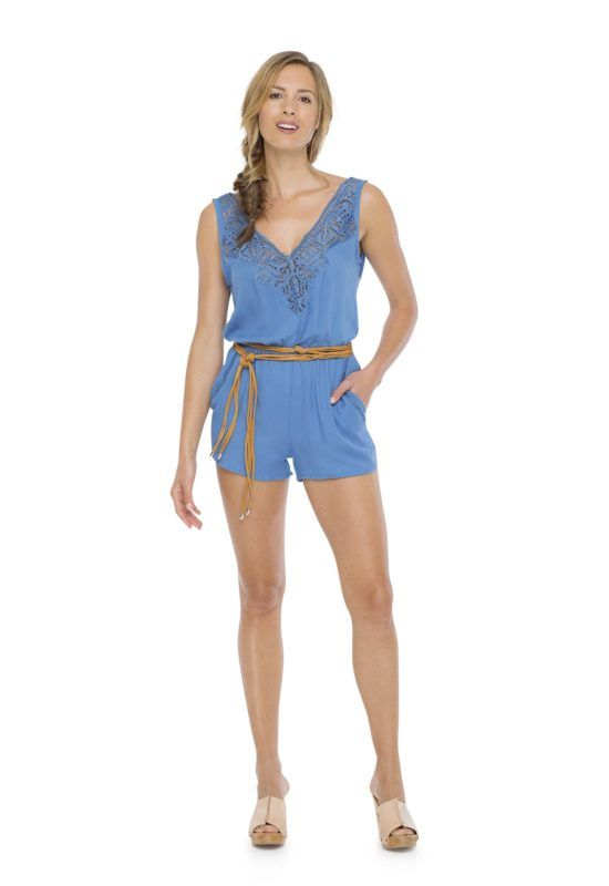 HELEN JUMPSUIT Blue -- Sleeveless short jumpsuit with elastic around the waist Crossing open on the back and v- neckline with detail kerawang embroidery by hand