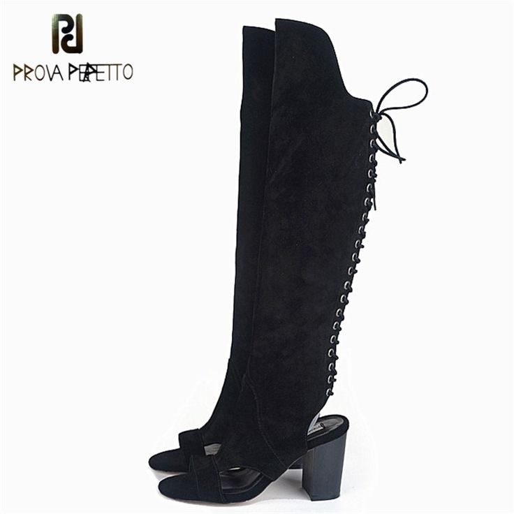 New Arrived Lace up <b>Fashion Knee</b>-<b>high</b> #Boots Real Leather ...