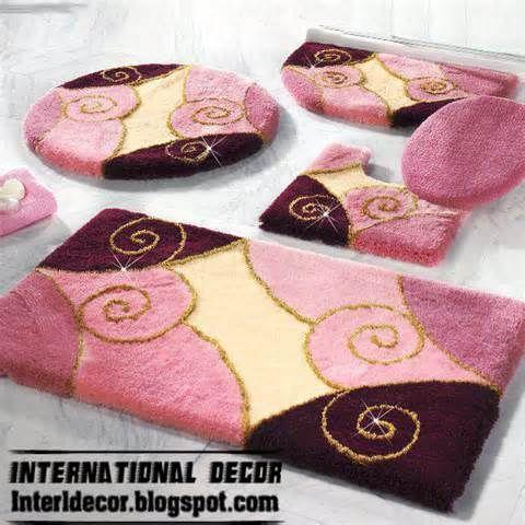 pink rugs, pink bathroom rug set, modern bathroom rug sets models