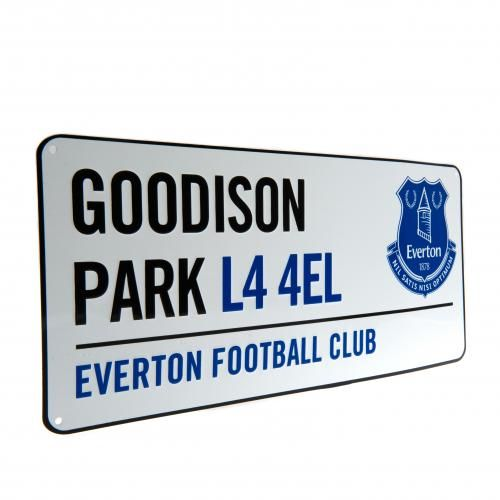 EVERTON Goodison Park Metal Street Sign featuring the new club crest. Approx 40 cm x 18 cm. Official Licensed Everton street sign. FREE DELIVERY ON ALL OF OUR GIFTS