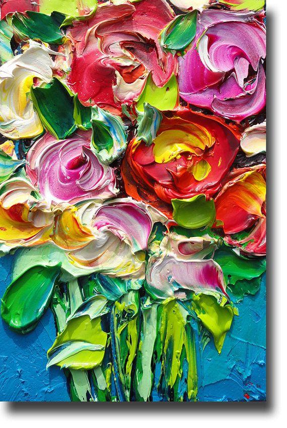 ORIGINAL Oil Painting Roses Art Palette knife Impasto by bsasik                                                                                                                                                     More