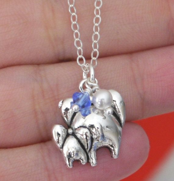 Elephant Charm Necklace, Cute Gift for New Mothers, Elephant Necklace, Gifts for New Moms, Mother Baby, September Stone, Fast Shipping