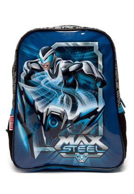 Mochila Sestini Max Steel 17M P Infantil Azul, com alças de costas, estampa personalizada do personagem, bolsos laterais e fecho principal por zíper. 24x30x6cm (LxAxP)