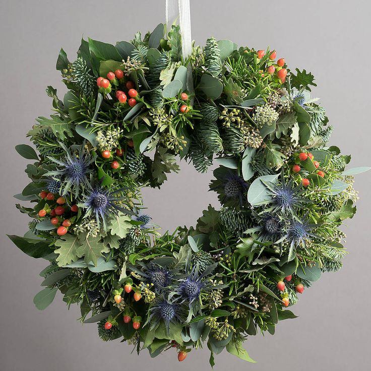 One of our best styles - eucalytpus, heather, blue thistles, spruce, greenery, berries.