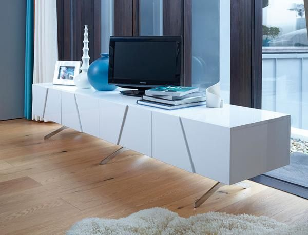 Gillmore Space Glacier Contemporary Low 4 Door TV Unit in High Gloss White